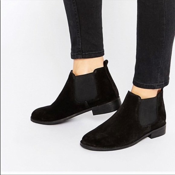 82d1b1bb0d1 ASOS Black Suede Leather Chelsea Ankle Boots 8